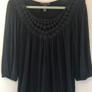 Cable & Gauge Long Sleeve Blouse with Lace, Size M
